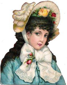 Oblaten Glanzbild scrap die cut chromo Lady Dame femme head portrait  Hut hat