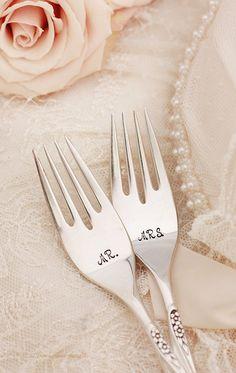Wedding Fork Set Mr Mrs Forks Hand Stamped by BeachHouseLiving