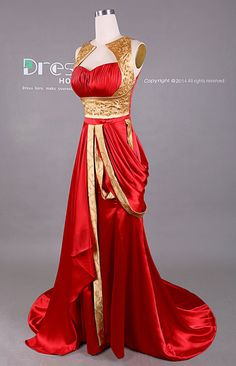 New Design Gold and Red Embroidery Beading Long Prom by DressHome