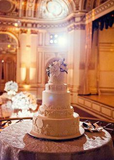 Photo: A Day of Bliss Photography; Ultra Glamorous New York Wedding Lights Up The Plaza Hotel - wedding cake idea for ballroom wedding