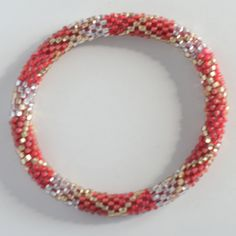Lily and Laura Bracelet - Coral, Gold and Silver Criss-Cross from Pretty Things