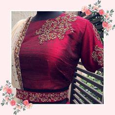 Rianta's on Instagra Choli Blouse Design, Saree Blouse Neck Designs, Bridal Blouse Designs, Mood Designer Fabrics, Designer Blouse Patterns, New Dress Design Indian, Indian Designer Outfits, Embroidery Fashion, Saree Belt