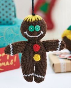 "Gingerbread Man - Free Knitting Pattern ( You will need to be registered with ""Let's Knit"" to open the files, just click the Blue Box ""Sign Up to Download Pattern"" to fill register form) ( PDF File Zip format) here: http://www.letsknit.co.uk/free-knitting-patterns/quick-knit-decorations"