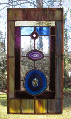 """Kayenta - Blue and Purple Agates w/Cathedral Glass: Stained Glass Panel with Fused Glass Accent (approx 8"""" wide x 15.25"""" tall) by ArtGlassInspired on Etsy"""