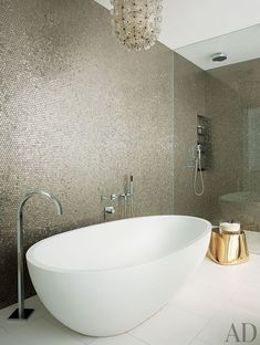 Metallic Bathroom feature wall behind the shower in master ensuite
