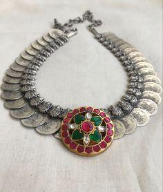 Silver Choker, Beaded Choker, Silver Necklaces, Oxidised Jewellery, Pearl Chain, Gold Polish, Pink Stone, Stone Pendants, Jewelry Design
