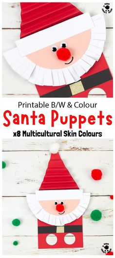 Santa Finger Puppets are so fun! They're easy to make with the printable template which comes in B/W and full colour with 8 multicultural skin colours to choose from. This Santa craft has a folded hat and scissor cut beard great for kids fine motor skills. A fun interactive Christmas craft for kids to encourage imaginative play.  #kidscraftroom #kidscrafts #christmascrafts #santa #santacrafts #puppets Crafts For Kids To Make, Christmas Crafts For Kids, Christmas Activities, Craft Activities, Christmas Themes, Holiday Crafts, Kids Crafts, Toddler Crafts, Mason Jar Crafts