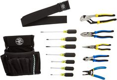 Klein Tools 92914 Tool Kit, Tool Set Includes Basic Tools, Pouch and Belt for Journeyman, Linesman, Professionals and Homeowners Basic Tools, Work Tools, Electrician Logo, Van Racking, Hand Tool Sets, Klein Tools, Power Hand Tools, Blue Garden, Appliance Parts