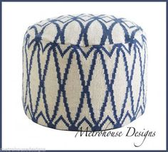 MINERAL BLUE ON CREAM IKAT POUF