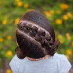 Today we did a diagonal pull through braid with 2 mini space buns for 🌈😊🌈this hairstyle was inspired by Mariya… Young Girls Hairstyles, Little Girl Haircuts, Baby Girl Hairstyles, Pretty Hairstyles, Braided Hairstyles, Toddler Hairstyles, Ariel Hair, Curly Hair Styles, Natural Hair Styles