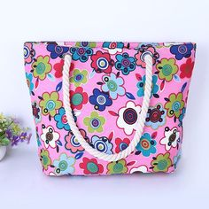 """Pink Electric Floral"" Summer Canvas Bag"