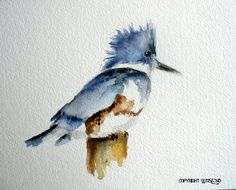 'THE FISHER KING', Kingfisher bird painting original watercolor art  - free shipping within continental USA. by WitsEnd, via Etsy. SOLD