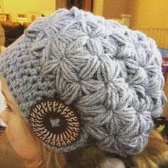 #slouchy puff star stitch hat #slouchy beanie #crochet