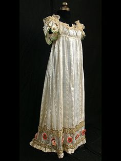 Neoclassic silk evening gown with metallic trim, 1800