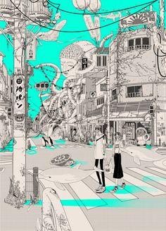 book page art Art And Illustration, Illustrations, Aesthetic Art, Aesthetic Anime, Anime Kunst, Anime Art, Got Anime, Ligne Claire, Japan Art