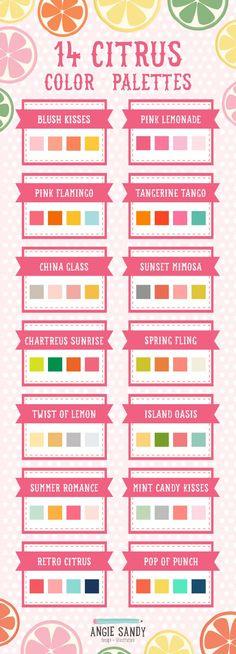 14 Citrus Color Palettes | Angie Sandy Design + Illustration #colorpalettes #summercolor
