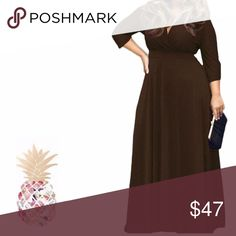 """Brown, V-Neck 3/4 Sleeve,  MAXI-Dress, Sz. 4X IN STOCK NOW!!!!    colors: Gray, Coffee Brown, Red, Purple, Black, White  I carry sizes 1X to 6X or larger if needed. SIZE: 4X 4X (US24) Bust: 134cm/52.7""""; Waist:116cm/45.7""""; Length: 151cm/59.4"""" ;Sleeve Length:53cm/20.9""""  Length:53cm/20.9""""  sexy deep v-neck 3/4 sleeve dress party Navy casual loose plus the Maxi dress  *Soft and stretchy  Comfortable quality stretch jersey knit rayon/spandex fabric 3/4 sleeve v neck dress Type: Women Sexy Casual…"""