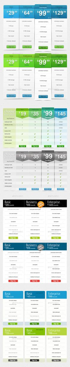 Pricing Table Full  UiUe Design  WebSoftware
