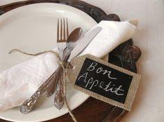 Custom order for Tasiaheights - 3 sets-12 Burlap Chalk Cloth Tags - Wedding, place card, gift tags via Etsy