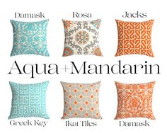 One Orange Aqua and Grey Zipper Pillow Cover: 11 by Pillomatic