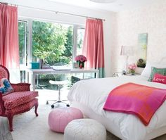 Pink furniture and drapes look modern contrasted against white bedding and floors.    A vintage bergere chair has been infused with a fresh new vitality with some glossy raspberry paint and animal print upholstery, adding playful yet sophisticated style to this teen girl's bedroom.
