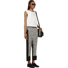 Costume National Black & White Text Graphic Wrap Panel Trousers