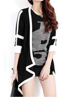 Plus Size 1/2 Sleeve Collarless Color Block Chiffon Splicing Women's Coat $12.27
