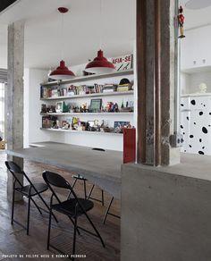 Bancadas de concreto na cozinha — Referans