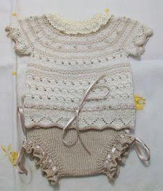 JERSEY PARA RECIEN NACIDO DE MANGAS CORTAS EN HILO BEIGE Y TOSTADO Material agujas del nº 2 Hilo beige claro del nº 8 Hilo be... Knitting Baby Girl, Baby Sweater Knitting Pattern, Knitting For Kids, Baby Knitting Patterns, Crochet Baby, Crochet Top, Baby Kimono, Baby Dress, Baby Set
