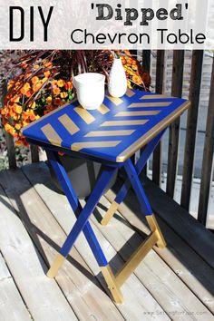 Do you have a table that needs a makeover? See how I transformed an old TV Tray table into this Outdoor side table! I show you how to make the chevron pattern too! DIY Chevron Table