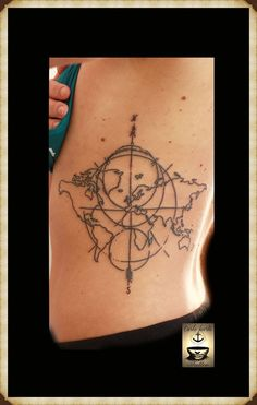40 world map tattoos that will ignite your inner travel bug map map tattoo compass tattoo tattoo idea barcelona tattoo geometric tattoo gumiabroncs Gallery