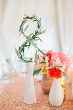 Check out 16 amazing and unique #table #number ideas... love this greenery shaped as an 8 {onelove Photography}