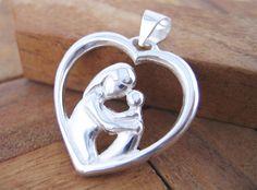 Colgante Corazón Madre Grande de Plata de Ley 925 ml