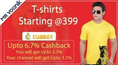 MrVoonik - T-Shirts - Starting @399 + UPTO 6.7% CASHBACK FROM CUBBER. #cubber, #offer, #cashback, #rewards, #shopandearn, #sale, #coupons, #deals, #shopping, #onlineshopping, #onlinestores, #MrVoonik , #TShirts,#Clothes,#Clothing,#Men'swear, #Extracashback, #shop