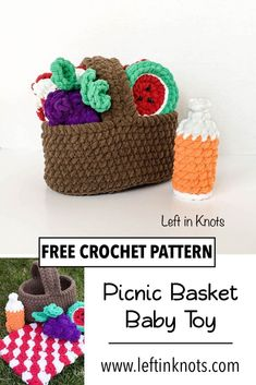 Crochet Projects Picnic season is here - and even your babies and toddlers can enjoy! Make this cute DIY picnic toy for babies to fill, spill and pretend with. This free crochet pattern uses bulky yarn and would be a great, fast baby gift. Crochet Game, Fast Crochet, Crochet Baby Toys, Crochet Toddler, Crochet Food, Crochet Toys Patterns, Crochet Gifts, Cute Crochet, Crochet For Kids