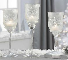 hurricane glass spray frosted for christmas | Frosted Glass Snowflake Candle Holders, 3 Piece Set