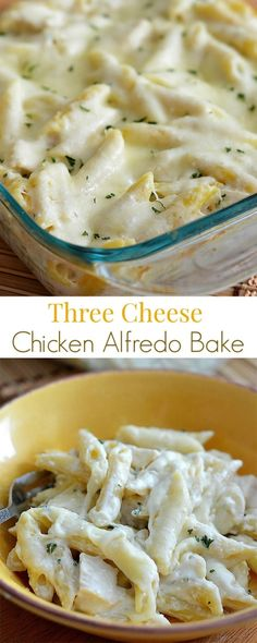 Three Cheese Chicken Alfredo Bake - A delicious pasta bake with chicken, Alfredo sauce and lots of cheese! Three Cheese Chicken Alfredo Bake - A delicious pasta bake with chicken, Alfredo sauce and lots of cheese! I Love Food, Good Food, Yummy Food, Delicious Pasta Recipes, Great Recipes, Dinner Recipes, Favorite Recipes, Dinner Entrees, Pasta Dishes