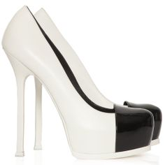 -office meeting wear-Yves Saint Laurent - Tribtoo white and black leather shoes - Cricket Fashion Boutique UK
