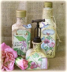 Botanical Tea Painted Bottles by the amazing Gabrielle Pollacco #graphic45