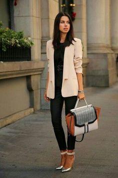 Blush jacket over all black.