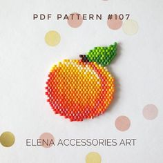 Peach brooch & earrings brick stitch PDF pattern for miyuki delika seed beads beading pattern Earrings: Dimensions (inches): x Dimensions (centimeters): x Colors: 12 Brooch: Dimensions (inches): x Dimensinos (centimeters): x Colors: 11 3d Perler Bead, Perler Bead Templates, Beading Patterns Free, Beaded Jewelry Patterns, Bead Patterns, Canvas Patterns, Art Perle, Beaded Banners, Beading Techniques