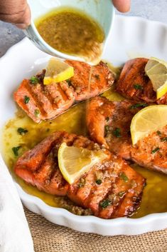 Grilled Salmon in Garlic Butter Sauce