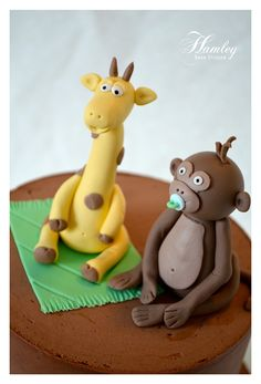 Baby Fondant/Gumpaste Monkey and Giraffe Cake Toppers