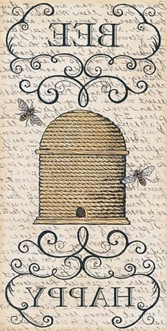 Deb Strain Poster Print Wall Art Print entitled Bee Happy, None Vintage Diy, Vintage Labels, Vintage Ephemera, Wall Art Prints, Poster Prints, Framed Prints, Canvas Prints, Bee Creative, Paper Art