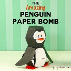 Penguin Paper Bomb - Amazing Pop-Up Action Ikea Craft Room, Craft Room Storage, Paper Storage, Room Organization, Paper Sunflowers, Paper Peonies, Pop Up, Kirigami, Diy Paper