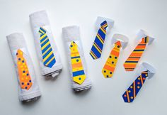 Make DIY Tie Napkin Rings and Tie Bunting Decorations for Father's Day #colorize