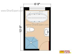 Full Bathroom Floor Plan Or Layout For 72 Sq Feet Plans