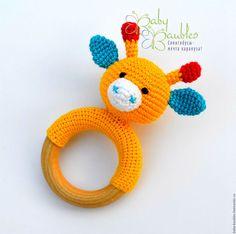"""Развивающие игрушки ручной работы. Ярмарка Мастеров - ручная работа. Купить """"Жирафик"""" грызунок. Handmade. Желтый, грызунок, слингоигрушка"""