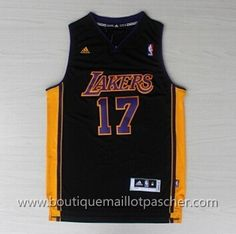 maillot nba pas cher Los Angeles Lakers Lin #17 Noir nouveaux tissu