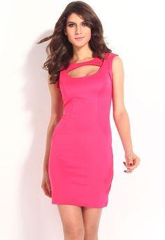 Pink Fantastic Neck around Design Sexy Midi Dress modeshe.com